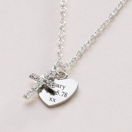Baguette Crystal Cross Engraved Necklace